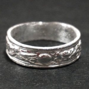 Sterling Silver Stork and Dragon Moon Men's ring